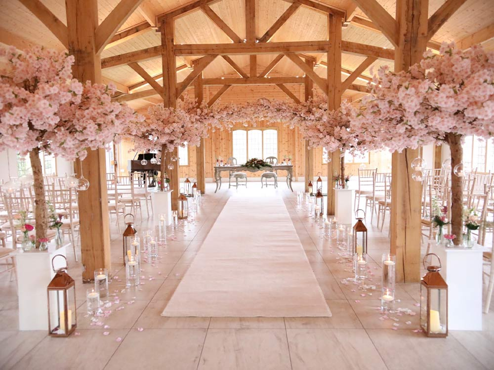 Wedding-Event-Hire---Pink-Blossom-Tree-Hire-Aisle-Decor